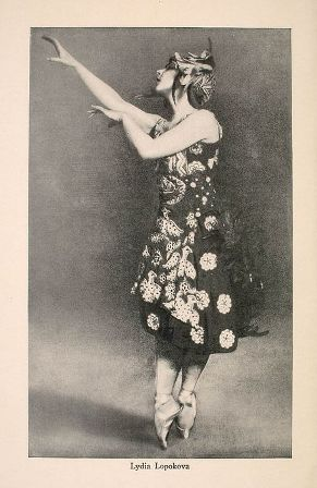 Portrait of Lydia Lopokova from color brochure advertising Ballets Russes 1916-1917 American tour